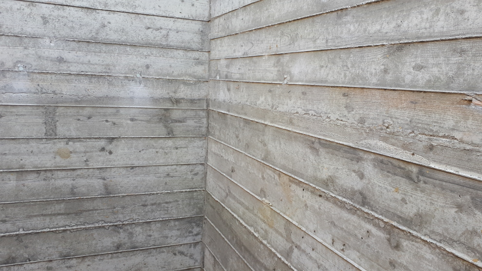 bare concrete wall regularised timber