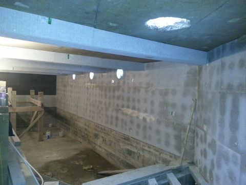 waterproof concrete basement with pool